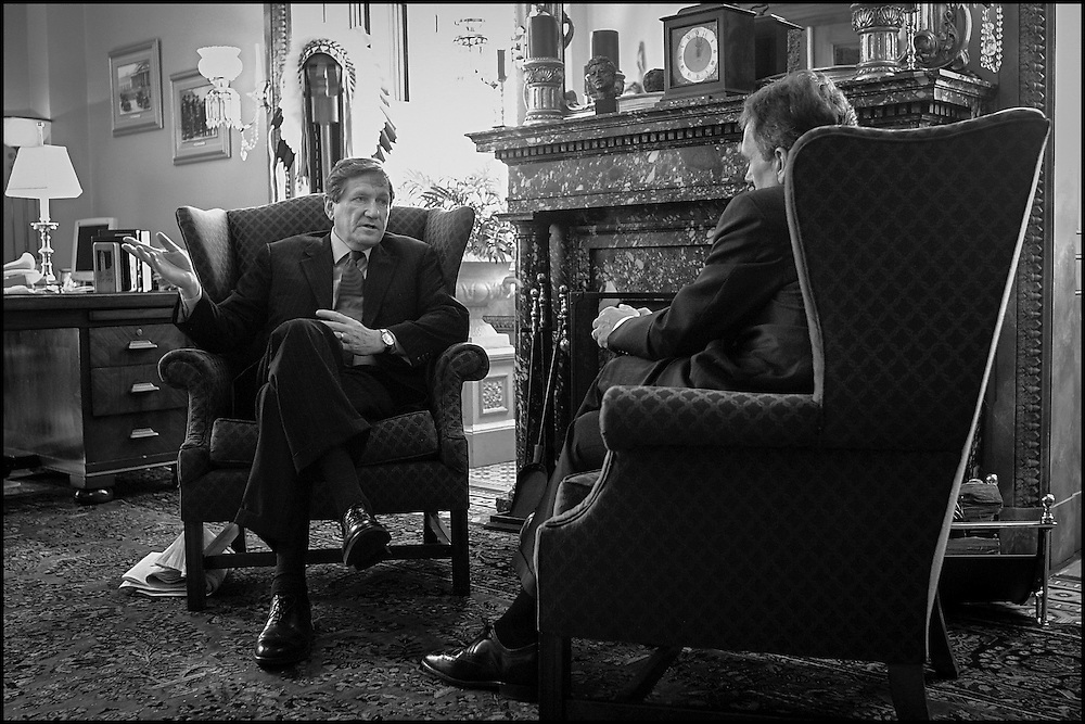 UN Ambassador Richard Holbrooke meets with Senate Majority Leader Tom Daschle.  10/2/01..©PF BENTLEY/PFPIX.com