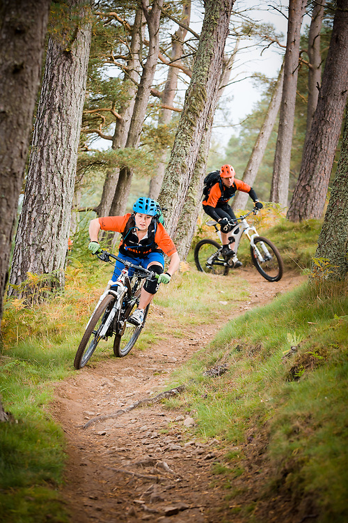 Ridelines Mountain bike tutition staff riding at 7 Staines Trailhead, Glentress, near Peebles, in the Scottish Borders