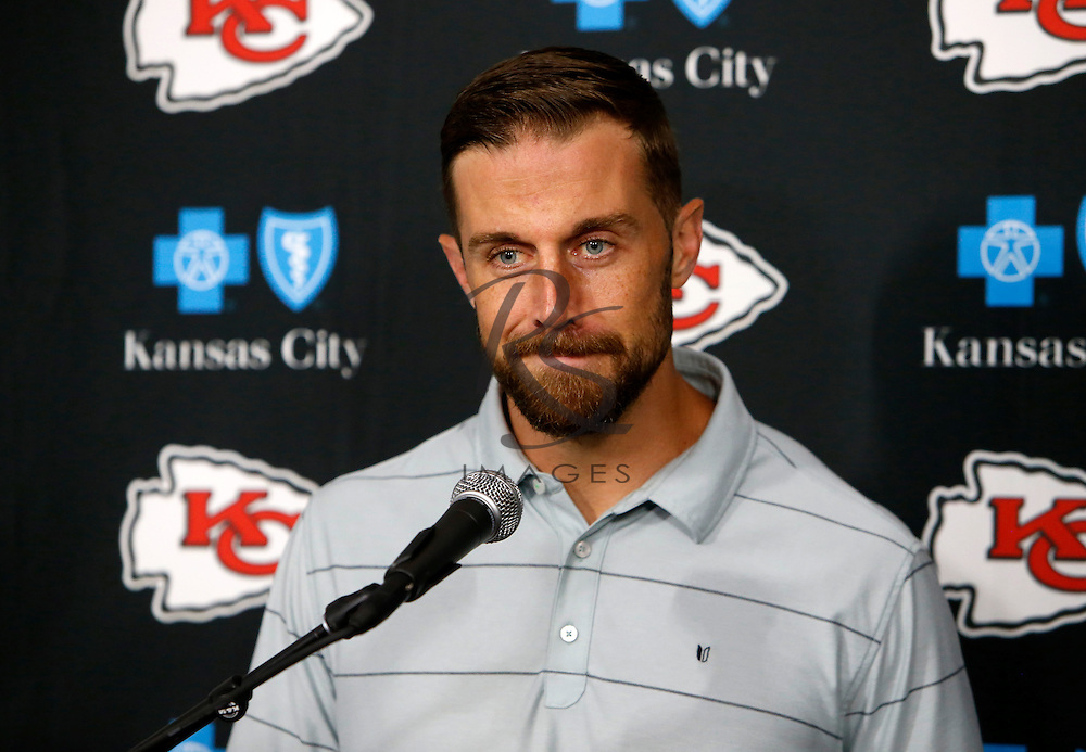 Kansas City Chiefs quarterback Alex Smith speaks during a news conference following a preseason NFL football game against the Los Angeles Rams, Saturday, Aug. 20, 2016, in Los Angeles. The Rams won 21-20. (AP Photo/Rick Scuteri)