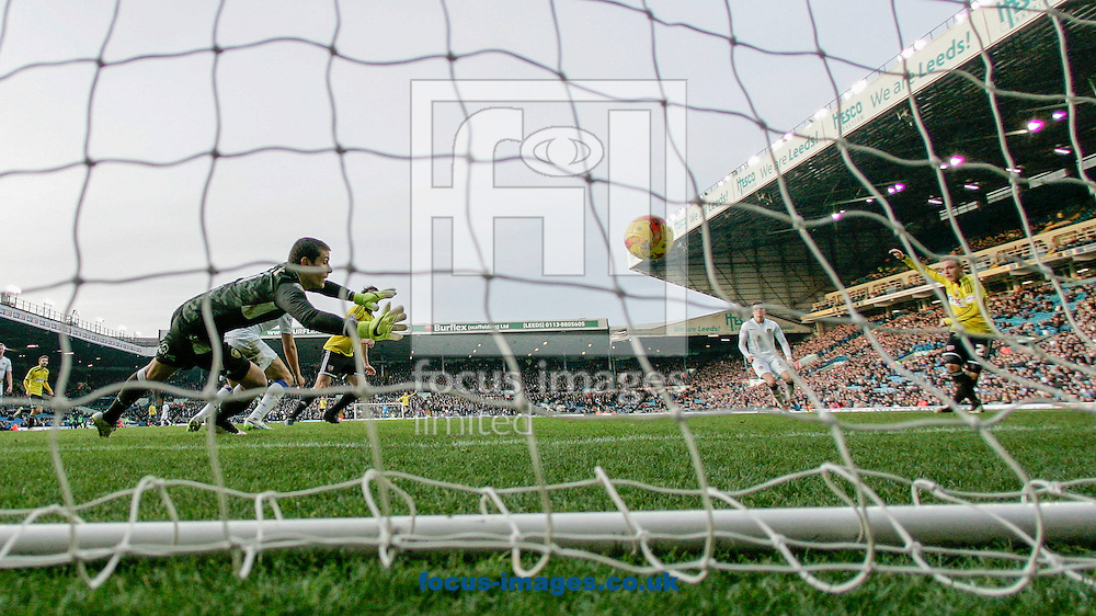 Alex Pritchard of Brentford scores the only goal during the Sky Bet Championship match between Leeds United and Brentford at Elland Road, Leeds<br /> Picture by Mark D Fuller/Focus Images Ltd +44 7774 216216<br /> 07/02/2015