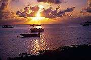 Sunset, Caribbean island, Cayman Brac, Cayman Islands, British West Indies,