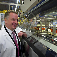 FREE TO USE PIC....<br />First Minister Jack McConnell who officially opened the new £3m bottling line at The Edrington Groups HQ in Glasgow..He is pictured watching the new bottling line in action..<br />See press release from Edrington Group: Contact Sharon McLaughlin on 07879 694962<br />Copyright Perthshire Picture Agency<br />Tel: 01738 623350  Mobile: 07990 594431