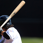 A batter at the plate during the Bridgeport Bluefish V Southern Maryland Blue Crabs, Atlantic League, Minor League ballgame at Harbor Yard Ballpark, Bridgeport, Connecticut, USA. Photo Tim Clayton