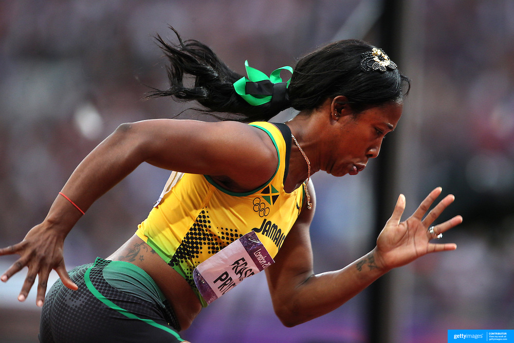 Shelly-Ann Fraser-Pryce, Jamaica, in the Women's 200m heats at the Olympic Stadium, Olympic Park, during the London 2012 Olympic games. London, UK. 6th August 2012. Photo Tim Clayton