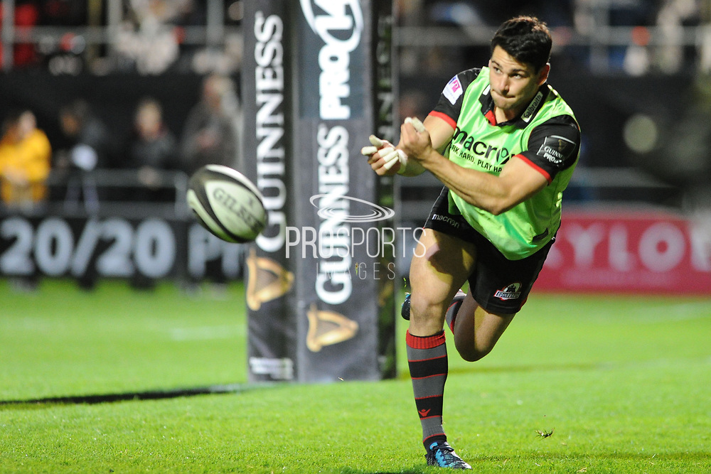 Sam Hidalgo-Clyne warms up during the Guinness Pro 14 2017_18 match between Edinburgh Rugby and Benetton Treviso at Myreside Stadium, Edinburgh, Scotland on 15 September 2017. Photo by Kevin Murray.