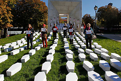 "Right to Life. <br /> The association ""Right to Life"". Spanish Association against abortion. This association has done this act to remind the government that every day is day of the dead. During the ceremony, more than 300 white cardboard coffins are installed for children killed according to them, Madrid, Spain,Thursday, 31st October 2013. Picture by DyD Fotografos / i-Images<br /> SPAIN OUT"