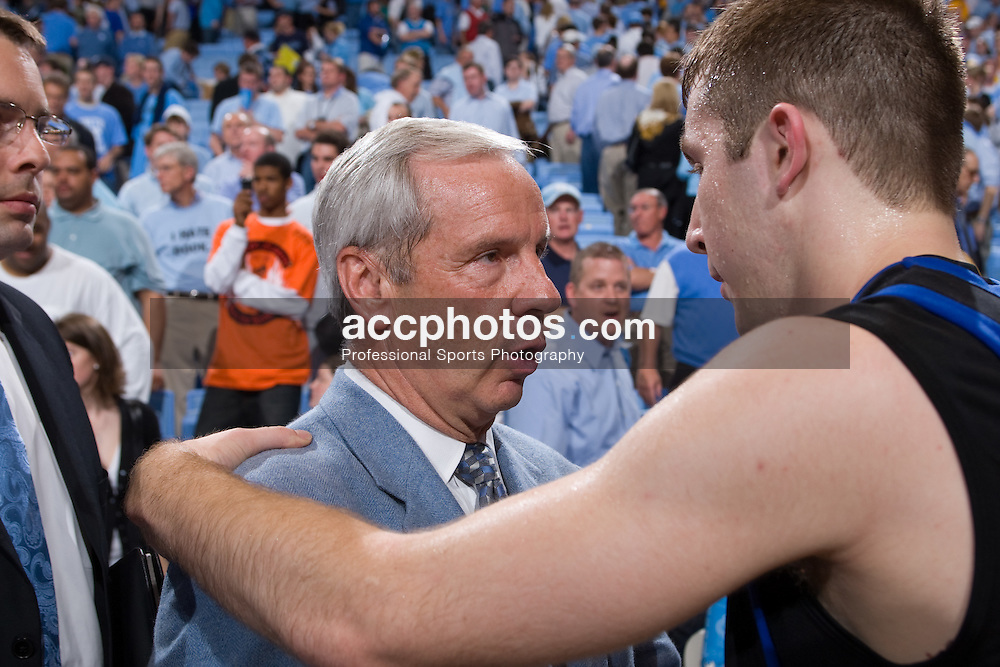 07 February 2008: North Carolina Tar Heels head coach Roy Williams and Duke Blue Devils guard Greg Paulus (3) during a 89-78 loss to the Duke Blue Devils at the Dean Smith Center in Chapel Hill, NC.