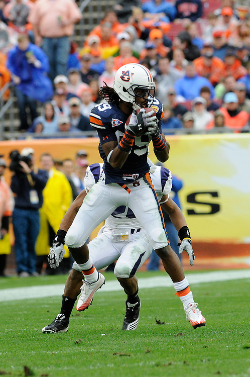 January 1, 2010: Darvin Adams of the Auburn Tigers in action during the NCAA football game between the Northwestern Wildcats and the Auburn Tigers in the Outback Bowl. The Tigers defeated the Wildcats 38-35 in overtime.