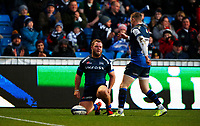 Rugby Union - 2019 / 2020 European Rugby Heineken Champions Cup - Pool Two: Sale Sharks vs. Exeter Chiefs<br /> <br />  Willgriff John of Sale Sharks scores a try at AJ Bell Stadium.<br /> <br /> COLORSPORT/LYNNE CAMERON