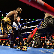 BROOKLYN, NY - November 04:  Deontay Wilder knocks down Bermane Stiverne in the first round during the WBC Heavyweight title fight on November 04, 2017 at Barclays Center in   Brooklyn, NY.  (photo by Kostas Lymperopoulos)