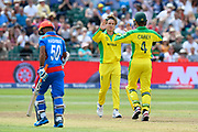 Wicket - Adam Zampa of Australia celebrates taking the wicket of Hashmatullah Shahidi of Afghanistan who was stumped by Alex Carey of Australia during the ICC Cricket World Cup 2019 match between Afghanistan and Australia at the Bristol County Ground, Bristol, United Kingdom on 1 June 2019.