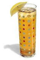 lemon tea in a polka dot glass