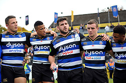 Rob Webber of Bath Rugby speaks to his team-mates in a huddle after the match - Mandatory byline: Patrick Khachfe/JMP - 07966 386802 - 17/10/2015 - RUGBY UNION - The Recreation Ground - Bath, England - Bath Rugby v Exeter Chiefs - Aviva Premiership.