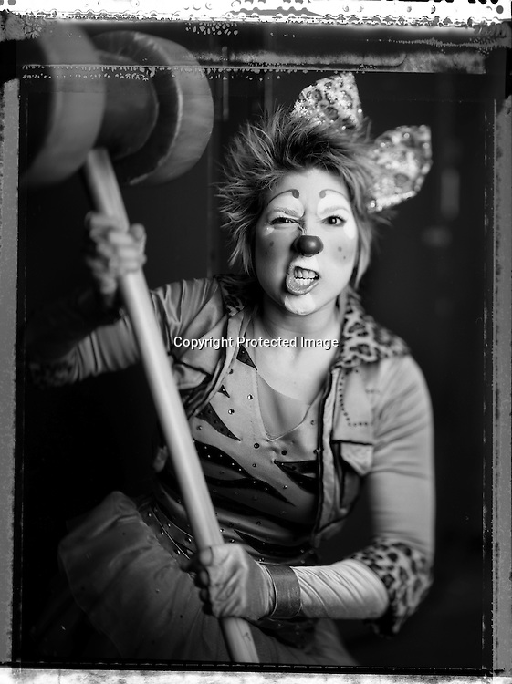 Circus clown Michelle Musser poses for a portrait at the Ringling Brothers Barnum and Bailey Circus in New York, April 3, 2007.