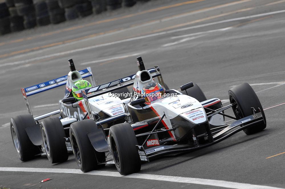 Macaulay Jones from Australia in his Toyota FT40 leads Levin Amweg from Switzerland during the Grand Prix.