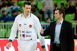 Goran Jagodnik of Union Olimpija and Assistant Coach of Union Olimpija Miro Alilovic during basketball match between KK Union Olimpija and Cibona in 17th round of NLB league in Arena Stozice on January 15, 2011 in SRC Stozice, Ljubljana, Slovenia (Photo By Matic Klansek Velej / Sportida.com)