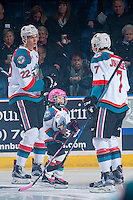 KELOWNA, CANADA - JANUARY 18: The Pepsi Save On Foods Player of the game skates on the ice with Braydyn Chizen #22 and Lucas Johansen #7 of the Kelowna Rockets against the Moose Jaw Warriors on January 18, 2017 at Prospera Place in Kelowna, British Columbia, Canada.  (Photo by Marissa Baecker/Shoot the Breeze)  *** Local Caption ***