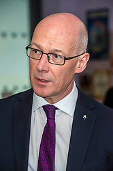 Pictured: John Swinney<br /> Education Secretary  John Swinney visited Grangemouth High School library today to launch the second round of bidding for a national funding programme aimed at improving school library services. <br /> <br /> <br /> Ger Harley | EEm 16 April 2018