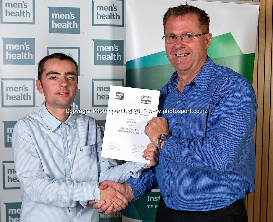Jacob Moir, left, and Allan Diaz at the Men`s Health Trust, 2015 Award Ceremony, Unitec, Auckland, New Zealand, Tuesday, May 26, 2015. Copyright photo: David Rowland / www.photosport.co.nz