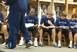 11 January 2008: North Carolina Tar Heels Milton Lyles, Scott Bollert, Billy Bitter and Jamie Locke after a weights testing session in Chapel Hill, NC.