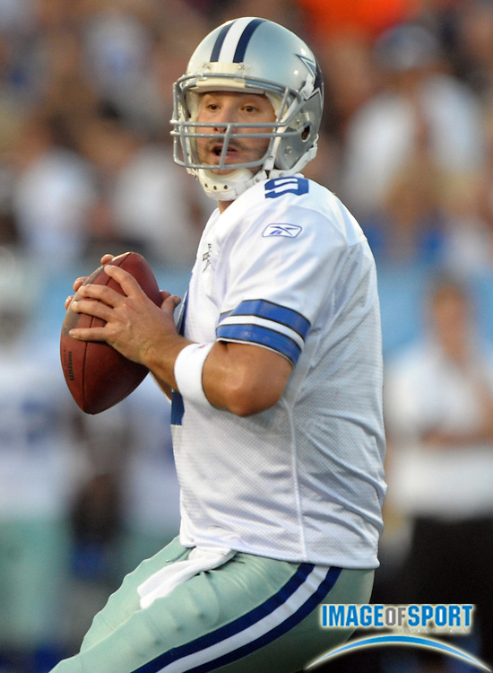 Aug 8, 2010; Canton, OH, USA; Dallas Cowboys quarterback Tony Romo (9) throws a pass during the first quarter of a preseason game against the Cincinnati Bengals at Fawcett Stadium. Photo by Image of Sport