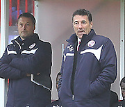 Crawley's Manager Dean Saunders during the Sky Bet League 1 match between Crawley Town and Sheffield Utd at the Checkatrade.com Stadium, Crawley, England on 28 February 2015. Photo by Phil Duncan.