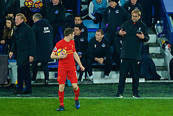 LIVERPOOL, ENGLAND - Monday, December 19, 2016: Liverpool's manager Jürgen Klopp issues instructions top James Milner during the FA Premier League match against Everton, the 227th Merseyside Derby, at Goodison Park. (Pic by Gavin Trafford/Propaganda)