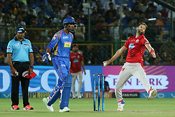 May 8, 2018 - Jaipur, Rajasthan, India - Kings XI Punjab bowler Andrew Tye bowls  during the IPL T20 match against Rajasthan Royals at Sawai Mansingh Stadium in Jaipur,Rajasthan,India on 8th May,2018.(Photo By Vishal Bhatnagar/NurPhoto) (Credit Image: © Vishal Bhatnagar/NurPhoto via ZUMA Press)