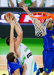 Gasper Vidmar of Slovenia faulted by Elmedin Kikanovic of Bosnia during basketball match between National teams of Slovenia and Bosna and Herzegovina in day 1 of Adecco cup, on August  3, 2012 in Arena Stozice, Ljubljana, Slovenia. (Photo by Vid Ponikvar / Sportida.com)