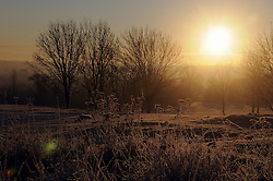 © Licensed to London News Pictures. 17/01/2013.The UK has woken up this morning to freezing temperatures as the cold weather continues today (17.01.13).The sunrise at Cray Valley Golf Club in Orpington,KentPhoto credit : Grant Falvey/LNP