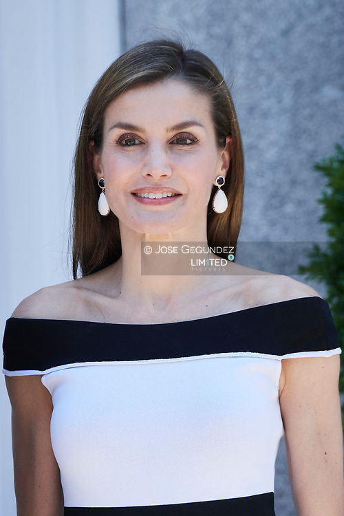 Queen Letizia of Spain atended an official lunch at Palacio de la Zarzuela with President of Peru, Pedro Pablo Kuczynski and wife Nancy Lange on June 13, 2017 in Madrid, Spain.