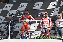 June 4, 2017 - Mugello, Italy - Andrea DOVIZIOSO ITA Ducati ,Danilo PETRUCCI ITA OCTO Pramac Racing, Maverick VINALES SPA Movistar Yamaha MotoGP Team during the podium Day 3 Race at the Mugello International Cuircuit for the sixth round of MotoGP World Championship Gran Premio d'Italia Oakley  on June 4, 2017. (Credit Image: © Fabio Averna/NurPhoto via ZUMA Press)