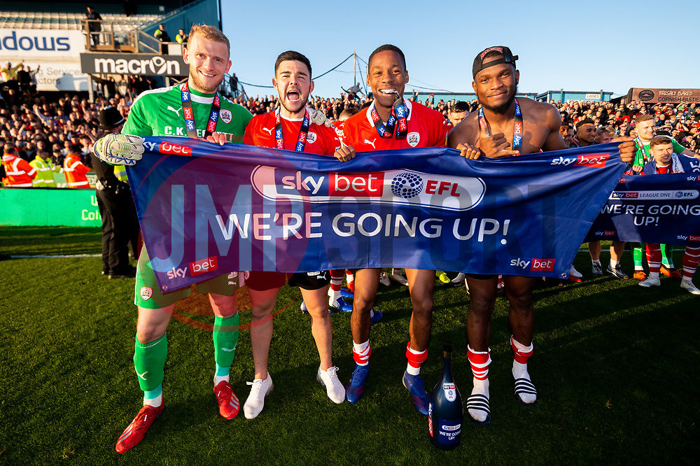 Adam Davies of Barnsley, Alex Mowatt of Barnsley, Ethan Pinnock of Barnsley and Dimitri Cavare of Barnsley celebrates after the final whistle of the match after Barnsley secure automatic promotion to the Sky Bet Championship - Mandatory by-line: Ryan Hiscott/JMP - 04/05/2019 - FOOTBALL - Memorial Stadium - Bristol, England - Bristol Rovers v Barnsley - Sky Bet League One