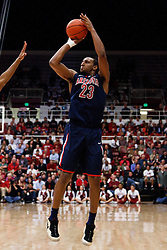 February 3, 2011; Stanford, CA, USA;  Arizona Wildcats forward Derrick Williams (23) shoots a jump shot against the Stanford Cardinal during the second half at Maples Pavilion.  Arizona defeated Stanford 78-69.