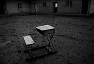 A school desk left out in the school yard near the Riyahd village, Iraq, Feb., 06, 2007.