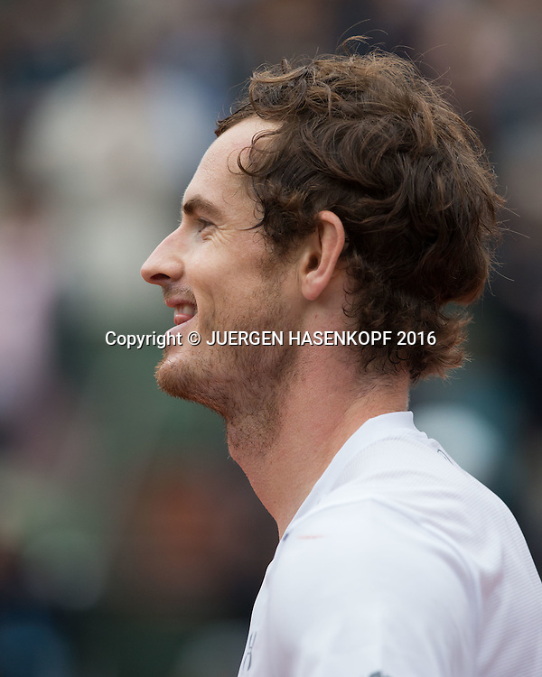 Andy Murray (GBR) freut sich ueber seinen Sieg,Freude, Emotion,Portrait,Profil<br /> <br /> Tennis - French Open 2016 - Grand Slam ITF / ATP / WTA -  Roland Garros - Paris -  - France  - 3 June 2016.