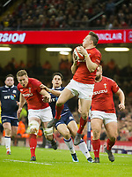 Rugby Union - 2018 Natwest Six Nations Championship - Wales vs. Scotland<br /> <br /> Josh Adams of Wales en debut leaps to take the ball from a kick off, at The Millennium Stadium.<br /> <br /> COLORSPORT/WINSTON BYNORTH