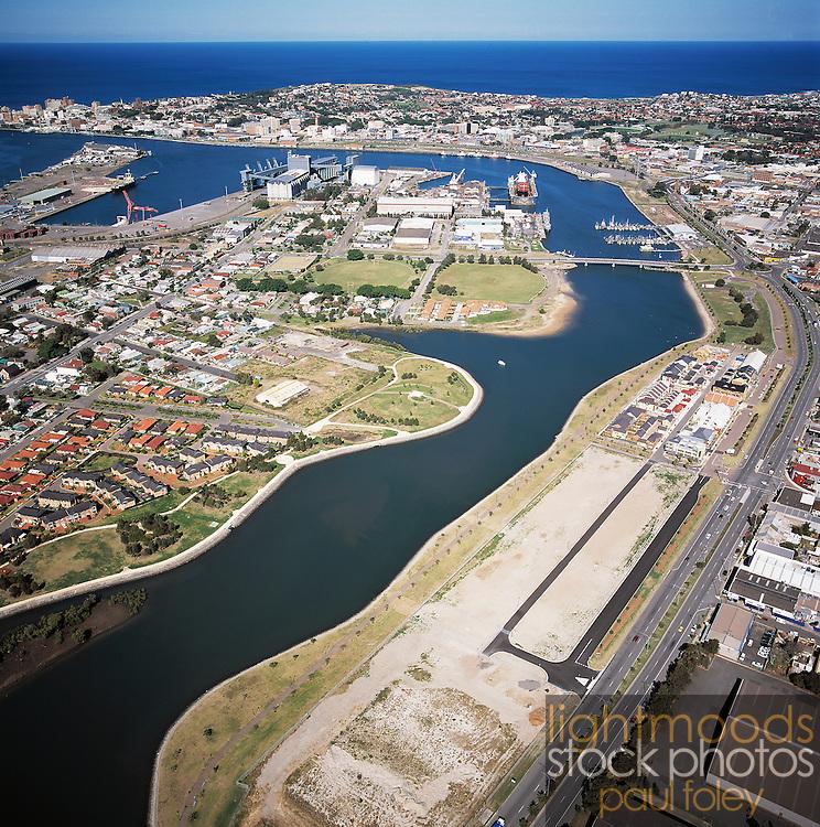 Aerial view of Newcastle Harbour, Honeysuckle Development, Australia,