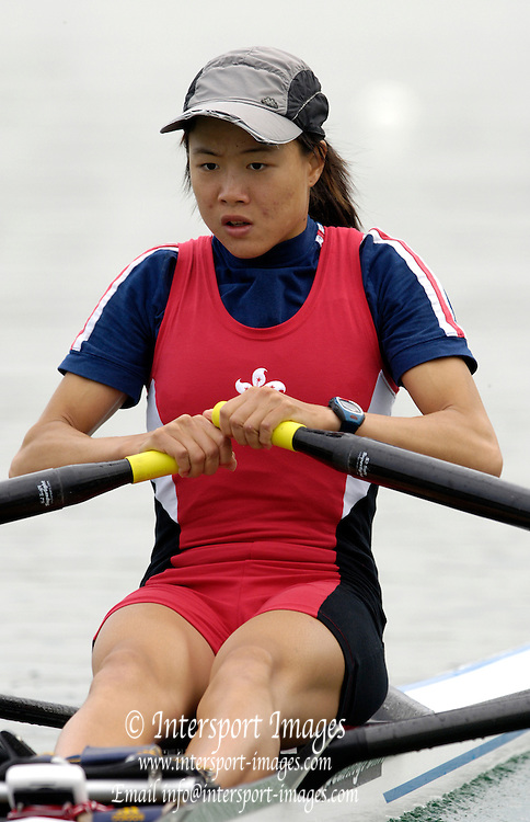 2005 FISA Rowing World Cup Munich, GERMANY. 17.06.2005;.HKG LW1X Ka Mann Lee, move away from the start in her morning heat, on the opening day of the regatta. Photo Peter Spurrier.email images@intersport-images...[Mandatory Credit Peter Spurrier/ Intersport Images] Rowing Course, Olympic Regatta Rowing Course, Munich, GERMANY