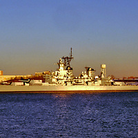 view of the USS New Jersey Battleship  dry docked in Camden, NJ