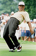 Ohio: Lanny Wadkins of the U.S. watches as his putt for birdie on the 12th hole fails to drop 13 Aug during second round play at the 1993 PGA Championship. Wadkins finished the round at nine-under-par and is currently one stroke off the lead as play continues.