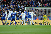 Leicester City forward Leonardo Ulloa heads home the second goal 2-0 during the Barclays Premier League match between Leicester City and Swansea City at the King Power Stadium, Leicester, England on 24 April 2016. Photo by Alan Franklin.