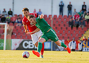 Seamus Sharkey of Sligo Rovers (red) and Kieran Sadlier of Cork City at the Showgrounds, Sligo.<br /> Photo: James Connolly<br /> 09JUN18