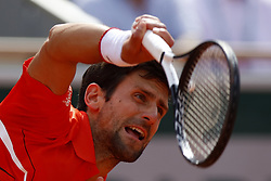 May 27, 2019 - Paris, France - Novak Djokovic during the singles first round match between Novak Djokovic and Hubert Hurkacz of Poland during Day two of the 2019 French Open at Roland Garros on May 27, 2019 in Paris, France. (Credit Image: © Mehdi Taamallah/NurPhoto via ZUMA Press)