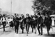 Assassination of Archduke Francis Ferdinand (Franz Ferdinand) 1863-1914, heir to the Austrian throne, at Sarajevo, 28 June 1914. The arrest on the scene of Gavrilo Princip (1895-1918) the assassin.