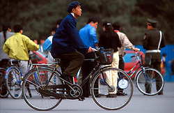 CHINA BEIJING APR99 - A Chinese man rides his bicycle on the streets of Beijing. ..jre/Photo by Jiri Rezac..© Jiri Rezac 1999..Contact: +44 (0) 7050 110 417.Mobile:  +44 (0) 7801 337 683.Office:  +44 (0) 20 8968 9635..Email:   jiri@jirirezac.com.Web:    www.jirirezac.com..© All images Jiri Rezac 1999 - All rights reserved.