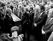 Family and friends of George Colley carry his remains into the Church of Three Patrons, Rathgar, Dublin. Many Fianna F&aacute;il colleagues were present, including Charles Haughey TD and Brian Lenihan TD. In a long and distinguished political career, Colley had served as Minister for Education, Minister for Industry and Commerce, Minister for Finance, Minister for the Public Service, and T&aacute;naiste.<br />