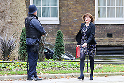 © Licensed to London News Pictures. 29/10/2019. London, UK. Secretary of State for Digital, Culture, Media and Sport NICKY MORGAN arrives in Downing Street to attend the weekly cabinet meeting. Photo credit: Dinendra Haria/LNP
