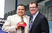 Geovanny Ponce of Hartman Middle School, pictured with Houston ISD superintendent Terry Grier, is one of the district's First Year Principals of the Year.