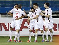 Fotball<br /> VM-kvalifisering<br /> 16.10.2012<br /> Kypros v Norge 1:3<br /> Foto: Savvides/Digitalsport<br /> NORWAY ONLY<br /> <br /> Norge feirer scoring<br /> L-R: Joshua King - Valon Berisha - Tarik Elyounoussi - John Arne Riise - Vegard Forren